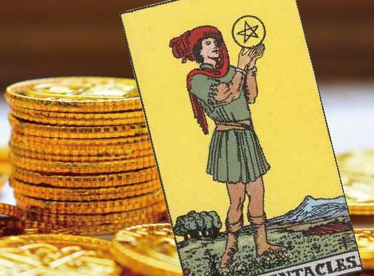 コインをバックにしたペンタクルのペイジのカード