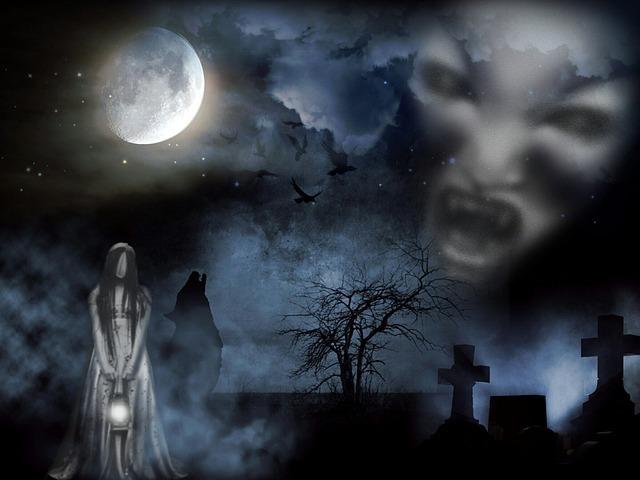 墓場に現れる亡霊(ゴースト)