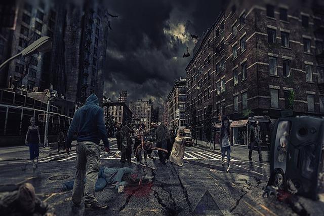 街を徘徊するゾンビの集団