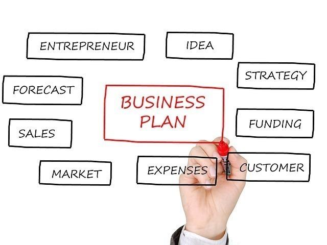 ビジネスプランをクリアボードに書きだしている画像