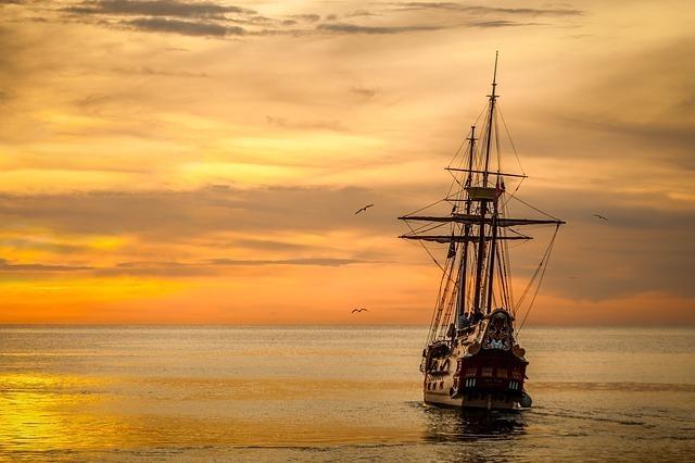 水面を走る船