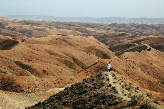 砂漠に佇む人