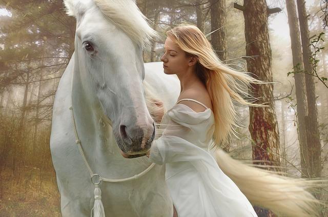 白い馬と美しい女性
