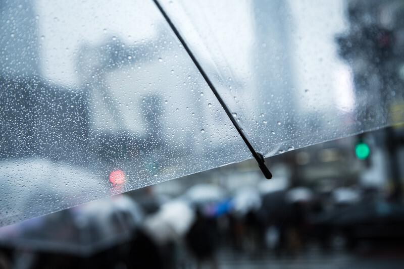 雨の中で傘をさす夢