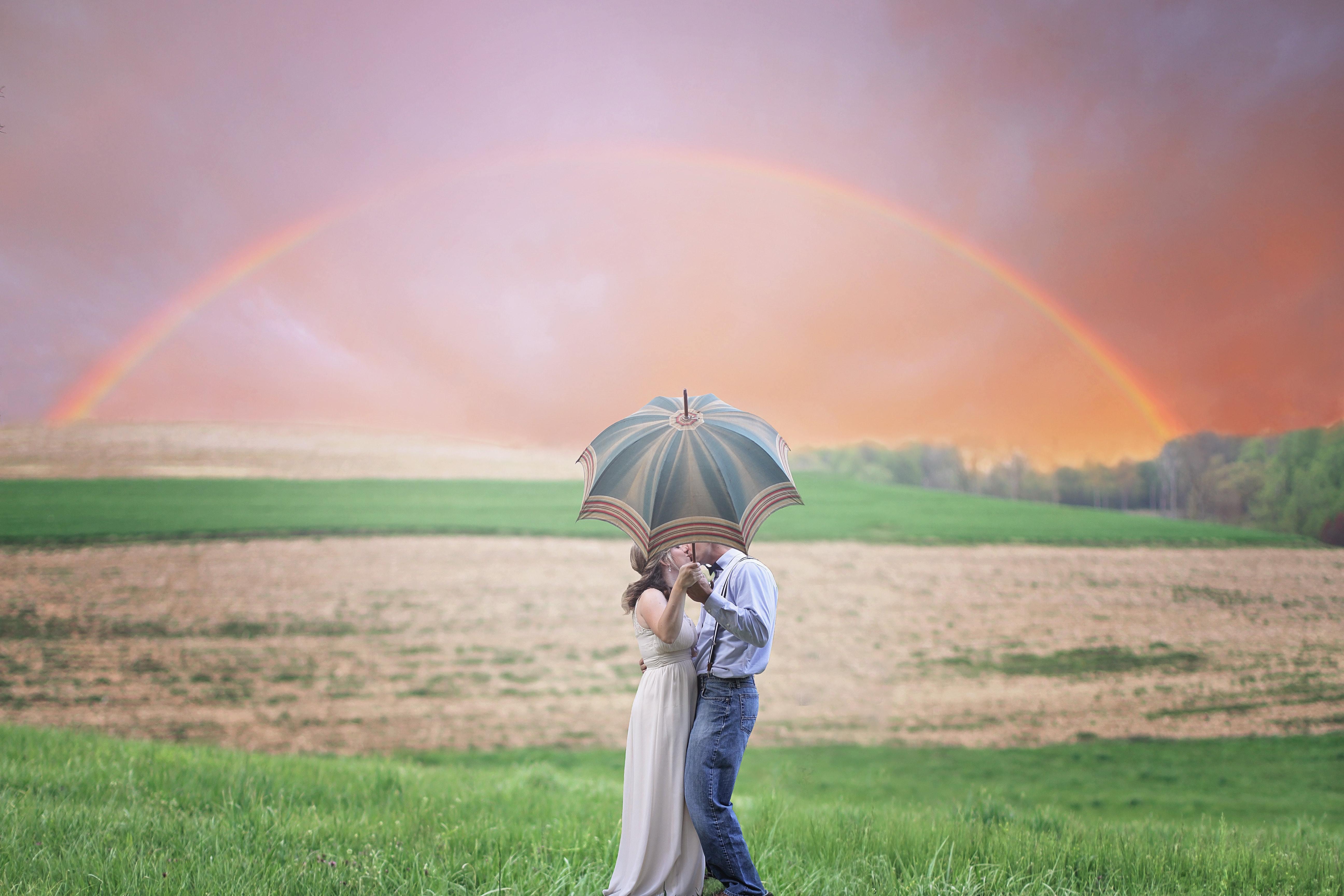 恋人と相合傘をしている場合