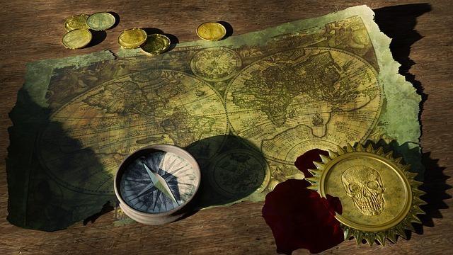 地図と方位磁針