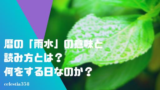 暦の「雨水」の意味と読み方とは?何をする日なのか?