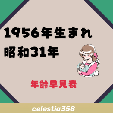 昭和 31 年 生まれ 1956年(昭和31年)生まれの年齢早見表|西暦や元号から今何歳?を計...