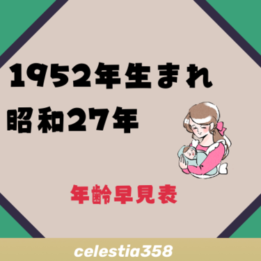 1952年(昭和27年)生まれは何歳?【年齢早見表】